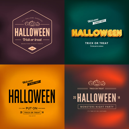 Halloween festival typography vintage retro style vector design poster.  Night Party Creative typo font banner template. Vector