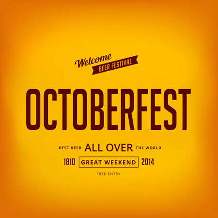 Octoberfest festival typography vintage retro style vector design poster.