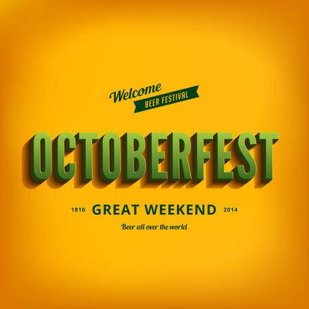 Octoberfest festival typography vintage retro style vector design poster template.  Creative 3d typo font October-fest typographic menu banner Vector