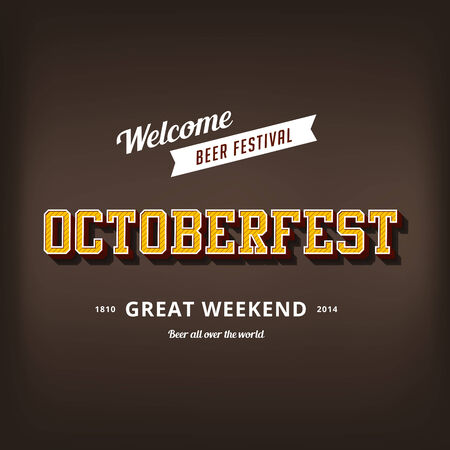 Octoberfest festival typography vintage retro style vector design poster template.