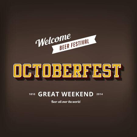 Octoberfest festival typography vintage retro style vector design poster template. Creative 3d typo font October-fest typographic menu banner