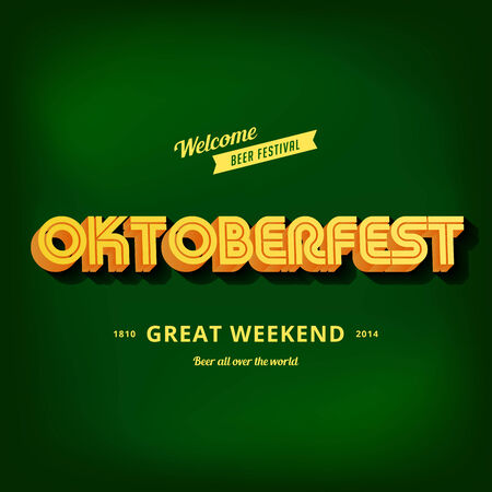 Octoberfest festival typography vintage retro style vector design poster template. Creative 3d typo font Oktoberfest menu banner