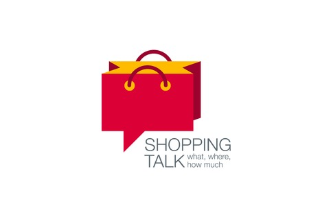 Online Shopping Bag Chat design template. Illustration