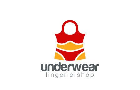 Shopping Bag Lingerie shop design template. Illustration