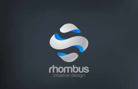 Wave Rhombus design template. Illustration