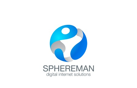 3D Sphere Virtual Man design template.