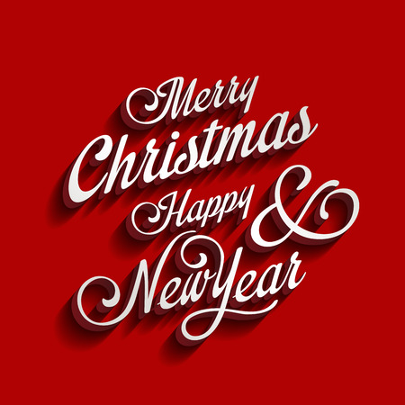 Merry Christmas and Happy New Year type calligraphic typography. Greeting Invitation card calligraphy element classic vintage retro style design.