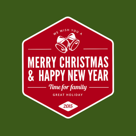 Merry Christmas and Happy New Year type typography Retro style.  Vector