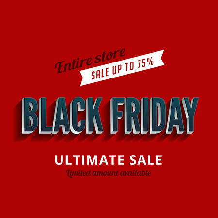 fashion design: Black Friday Sale Poster design 3D Typography template Retro style.