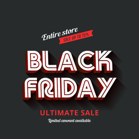 black: Black Friday Typography Advertising Poster design vector template.  Total Sale Discount Banner 3d text long shadow retro vintage style.