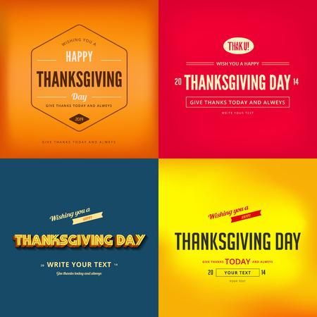 Happy Thanksgiving Day Typografie Wenskaart Poster ontwerp sjablonen set. Retro Vintage typo stijl collectie. Bewerkbaar. Stock Illustratie