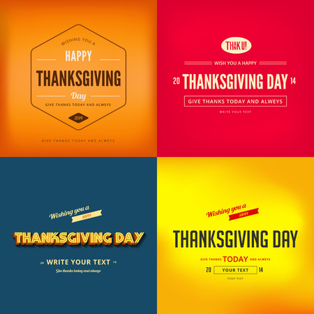 Happy Thanksgiving Day Typography Greeting card Poster design templates set.  Retro Vintage typo style collection. Editable. Иллюстрация