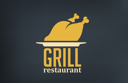 chicken grill: Grill Restaurant design vector template.