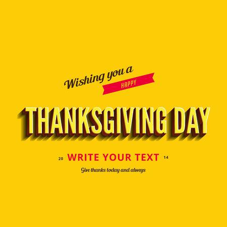 typo: Happy Thanksgiving Day Typography Greeting card Poster design templates set.  Retro Vintage typo style collection. Editable. Illustration