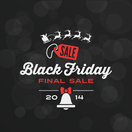 friday: Black Friday Typography Advertising Poster design vector template. Final Sale Discount Banner Callygraphy retro vintage style. Santa & Deers, Badge, Bell. Illustration