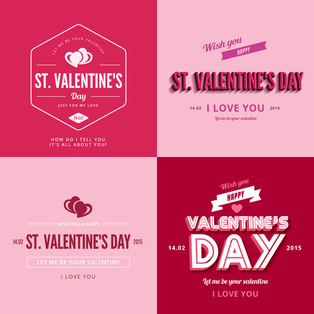 st valentines day: St. Valentine day text Vintage Retro Typography Lettering Design Greeting Card collection.   Valentines day Vector illustration long shadow style