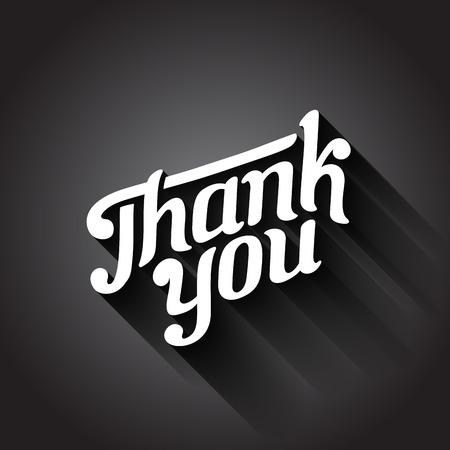 ありがとうございます日ヴィンテージ レトロなタイポグラフィ手描画レタリング デザイン書道。ベクトル図の長い影と古典的な書体