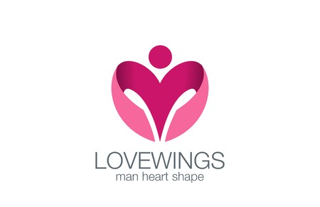 Man Wings as Heart shape Logo design vector template concept icon.