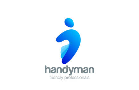 Handyman Logo design vector template. Hand as Body logotype concept icon.