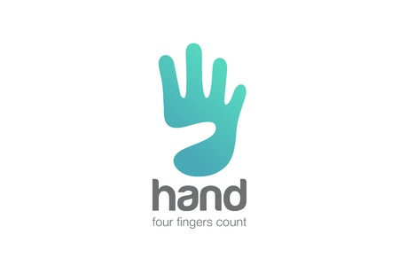 4: Hand Logo show four Fingers negative space design vector template.  Creative Funny entertainment Logotype abstract palm icon.