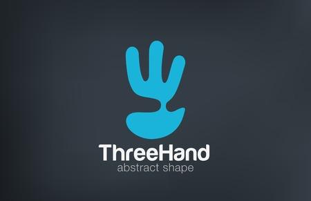 손 로고는 부정적인 공간 디자인 벡터 템플릿 세 손가락을 보여줍니다. 크리 에이 티브 재미 엔터테인먼트 로고 추상 팜 아이콘입니다.
