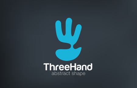 three colors: Hand Logo show three Fingers negative space design vector template.  Creative Funny entertainment Logotype abstract palm icon.