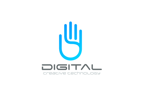 digital illustration: Artificial Intelligence Hand Logo design vector template.  Business Technology Security Data Digital Palm Logotype concept icon.