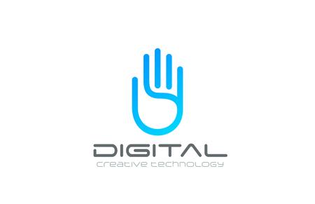 manos logo: Artificial plantilla de diseño del logotipo de vector Inteligencia Mano. Icono concepto de Datos de Tecnología de Negocios de Seguridad Digital de Palm Logotipo.