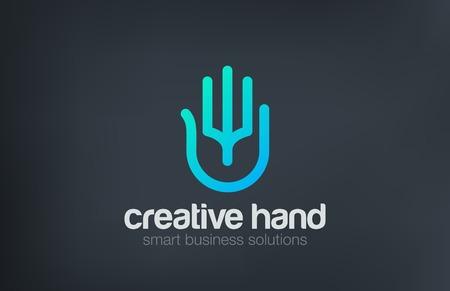 인공 지능 디지털 팜 손 로고 디자인 벡터 템플릿 라인 아트 스타일. 비즈니스 기술 보안 데이터 로고 타입 개념 아이콘입니다. 일러스트
