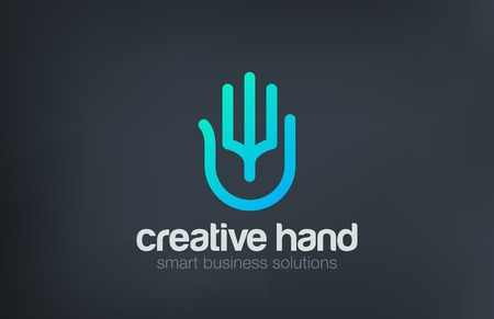 Artificial Intelligence Digital Palm Hand Logo design vector template line art style.  Business Technology Security Data Logotype concept icon. Çizim