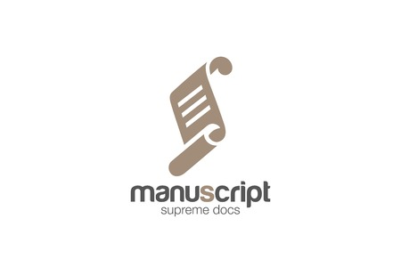 Paper roll manuscript Logo design vector template. Scroll Script silhouette icon. Library Document Lawyer Education Logotype. Certification concept. Stock Illustratie