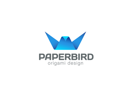 origami bird: Origami Bird Logo abstract design vector template.  Paper object Logotype Business creative concept icon.