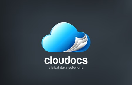 docs: Docs Cloud computing Logo design vector template. Abstract data network.  Internet Network storage Logotype concept. Web pages icon idea.