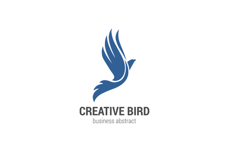 bird: Flying Bird Logo abstract design vector template. Phoenix concept.  Eagle Falcon Logotype silhouette. Business Financial success icon.