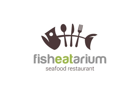 Fish seafood restaurant Logo creative design vector template.  Skeleton Fish bone of spoon, fork, knife silhouette Logotype funny icon.