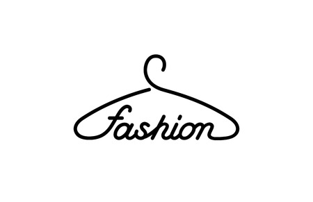 fashion vector: Hanger Fashion text Logo store design vector template.  Creative idea for clothes outwear shop Logotype concept icon.