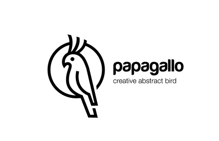 Parrot Logo abstract lineart outline design vector template.  Bird sitting in Circle Logotype line art style. Linear concept icon.