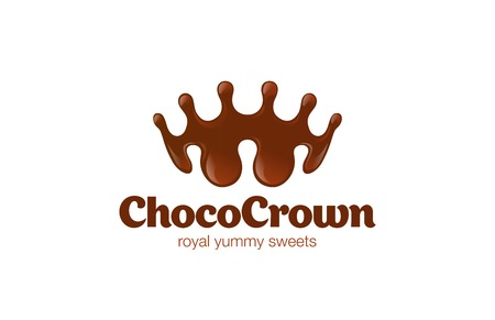 Chocolate Crown shape Splash Logo design vector template.  Choco Royal Sweets Logotype creative idea concept icon.
