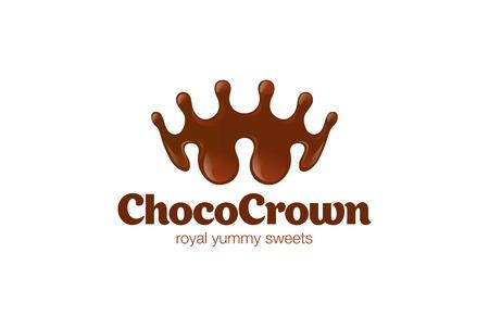 Chocolate Crown shape Splash Logo design vector template. Choco Royal Sweets Logotype creative idea concept icon. Stock Illustratie