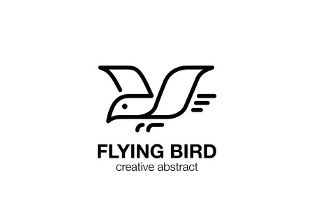 lineart: Flying Bird Logo abstract design linear outline vector template.  Geometric style Eagle Falcon Logotype lineart concept icon.