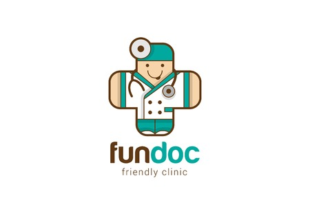 Funny Friendly Doctor Logo Medical Cross shape design vector template. Therapist icon. Children medical clinic Logotype concept. Healthcare with Fun. Vectores