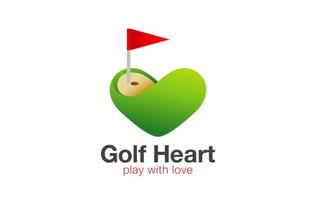 Golf field Logo Heart shape design vector template.  Love Play Golf concept Logotype idea .