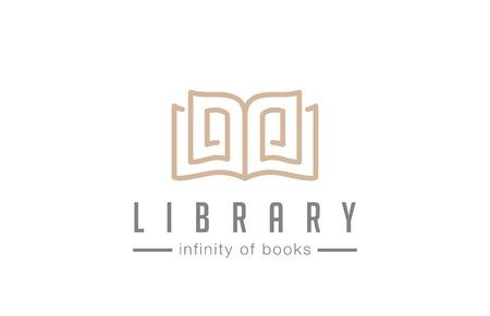 オープン予約ロゴ抽象的なデザイン ベクトル テンプレート ラインアート スタイル  教育図書館雑誌ロゴの豪華なエレガントな概念。