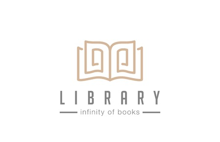 digital library: Open Book Logo abstract design vector template lineart style  Education Library Magazine Logotype Luxury elegant concept. Illustration