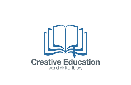 Opened Book Logo abstract design vector template Education Library Magazine Logotype concept icon.