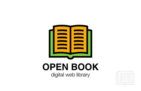 book logo: Open Book Logo abstract design vector template. Friendly icon.  Education Dictionary Library Logotype concept. Vectores