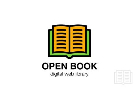 book concept: Open Book Logo abstract design vector template. Friendly icon.  Education Dictionary Library Logotype concept. Illustration