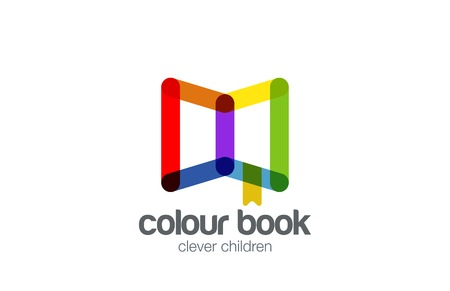 Book Logo abstract design vector template. Funny icon.  Colorful Education Library Logotype friendly style.