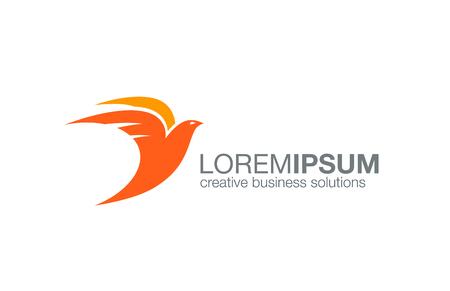 Abstracto del diseño del vector logo Flying Bird. Icono concepto logotipo creativo.