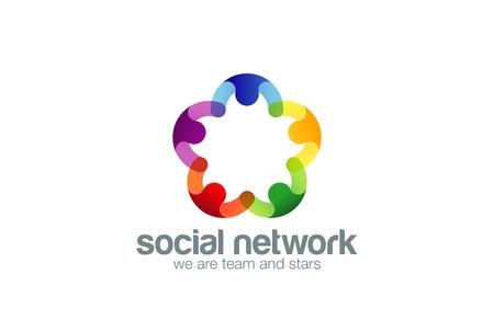 Sociaal netwerk Logo design vector sjabloon met abstracte tekens. Mensen hand in hand in cirkel Vriendschap, partnerschap, samenwerking, Teamwork, Family logo concept pictogram. Vijfpuntige ster. Stock Illustratie